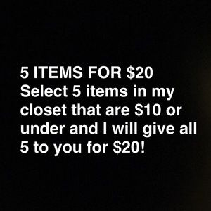 5 for $20 SALE